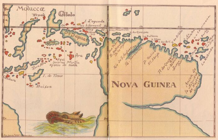 "Map of New Guinea ('Nova Guinea'), c. 1600; as reproduced in G. Collingridge's 1906 work, ""The First Discovery of Australia and New Guinea""."